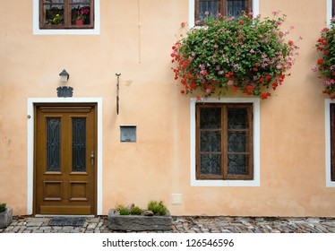 orange house facade with wooden door and windows with plants