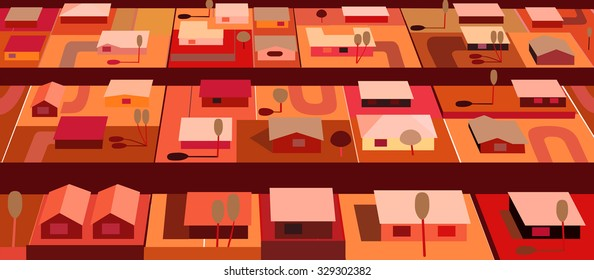 Orange houses from above along streets illustration horizontal