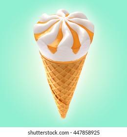 orange ice cream cone on background / 3D illustration
