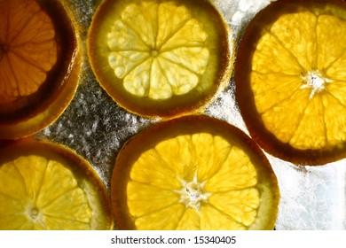 orange in ice cube