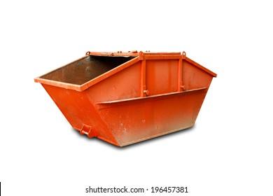 Orange Industrial Waste Bin Isolated Over White