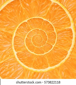 Orange infinity spiral abstract background.