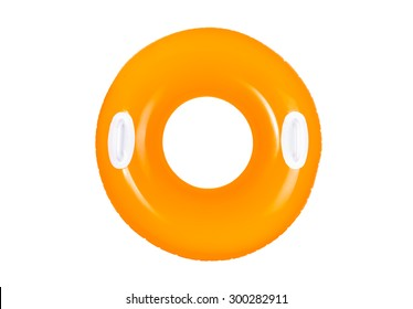 orange inflatable swimming ring  for pool isolated on white