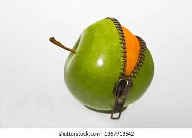 orange inside apple with zipper