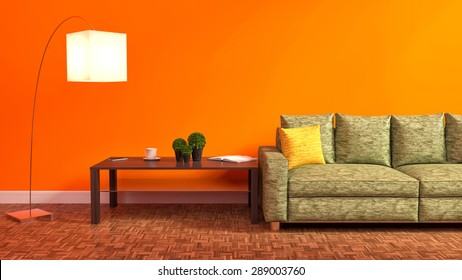 Orange interior with green sofa, wooden table and lamp. 3d illustration