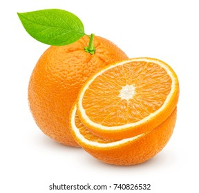 Orange isolated. One whole orange and half isolated on white background