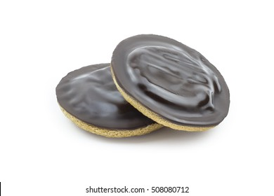 Orange jaffa cakes isolated on white. Clipping path included in JPG.