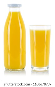 Orange juice in a bottle and glass isolated on a white background