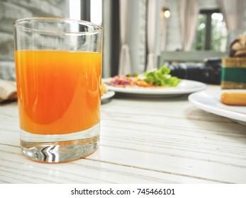 Orange juice with breakfast