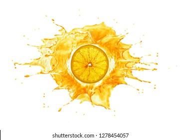 Orange juice burst splash explosion with orange slice in the middle. Isolated on white background.