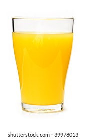 Orange juice in clear glass isolated on white background