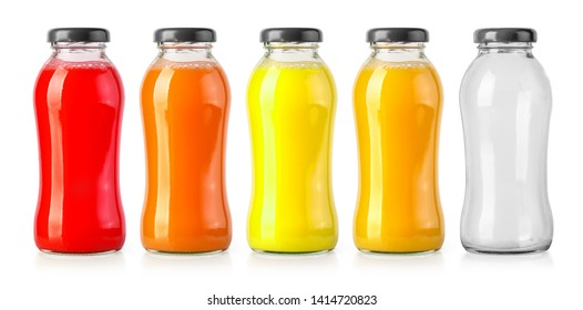 orange juice  and empty bottles solated on white background, with clipping path