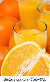 Orange juice and fruit closeup