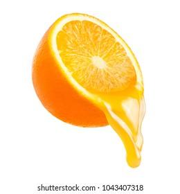 Orange juice from orange fruit in motion. Splash of juice. Isolated on white backgroud