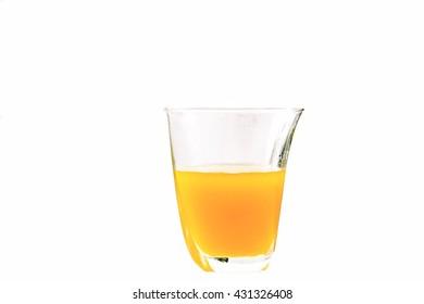Orange juice glass and fruit juice