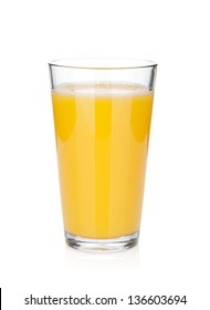 Orange juice glass. Isolated on white background