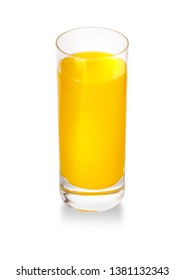 Orange juice glass, isolated on white background  with clipping path