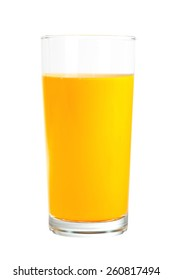 orange juice in the glass isolated on white background