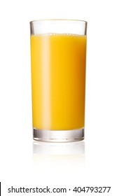 Orange juice glass, isolated on white background