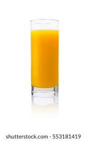 orange juice glass on white background