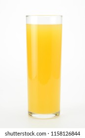 Orange juice in a glass of tube on white background