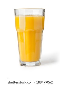 Orange juice in highball glass. Isolated on white background. with clipping path