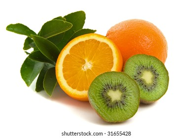 Orange juice with kiwi fruit over white background
