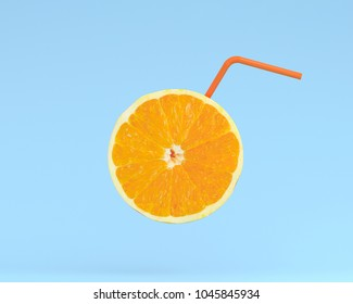 Orange juice, Lemon slice with Straw on pastel blue background. minimal idea food and fruit concept. An idea creative to produce work within an advertising marketing communications.  Business concepts