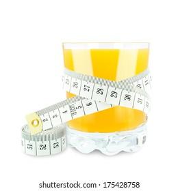 orange juice and meter on white background