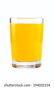 Orange juice on white background.