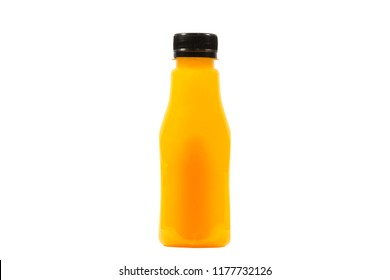 Orange juice in plastic bottles isolated on white background and modern shapes.There are genuine orange meat inside.