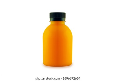 orange juice short fat bottles isolated on white space background with clipping path