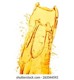 orange juice splash on white background