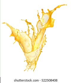 orange juice splash on white background