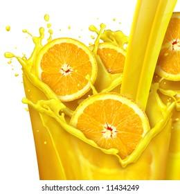 Orange juice splash and orange slices