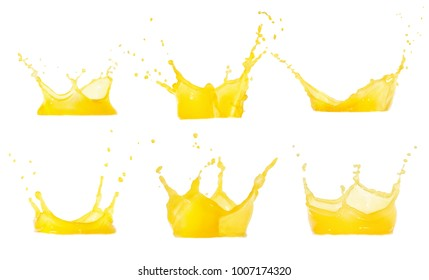orange juice splashes set isolated on white with clipping path