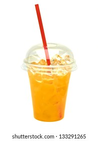 Orange Juice in take away cup with straw isolated on white background