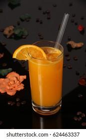 Orange juice in tall glass