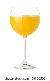 Orange juice in wine glass. Isolated on white background