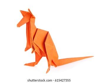Orange kangaroo of origami, isolated on white background.