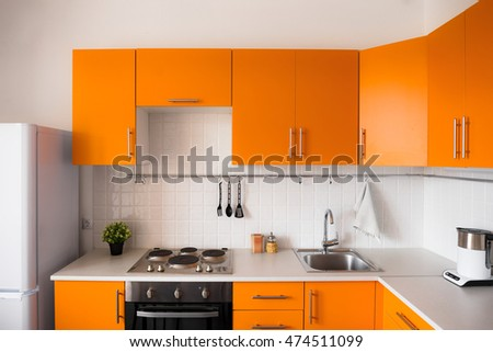 Orange Kitchen Set Modern Style Stock Photo Edit Now 474511099