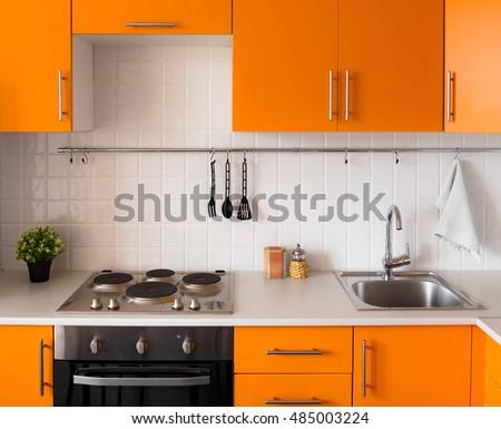 Orange Kitchen Set Modern Style Stock Photo Edit Now 485003224