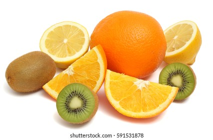Orange, kiwi, lemon isolated on white background