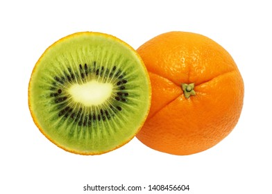 Orange and kiwi photomontage