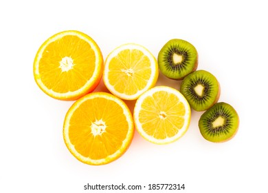 Orange, kiwi,lemon fruit isolated on white