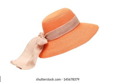A orange ladies hat on white background