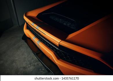 Orange Lamborghini Huracan rear end