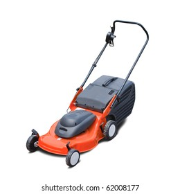 Orange lawn mower. Isolated over white background