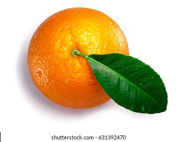 Orange with leaf (Citrus sinensis fruit), whole. Clipping paths, shadow separated, top view