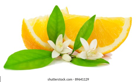 Orange, leaf,  flower and slice.  Isolated on a white background.